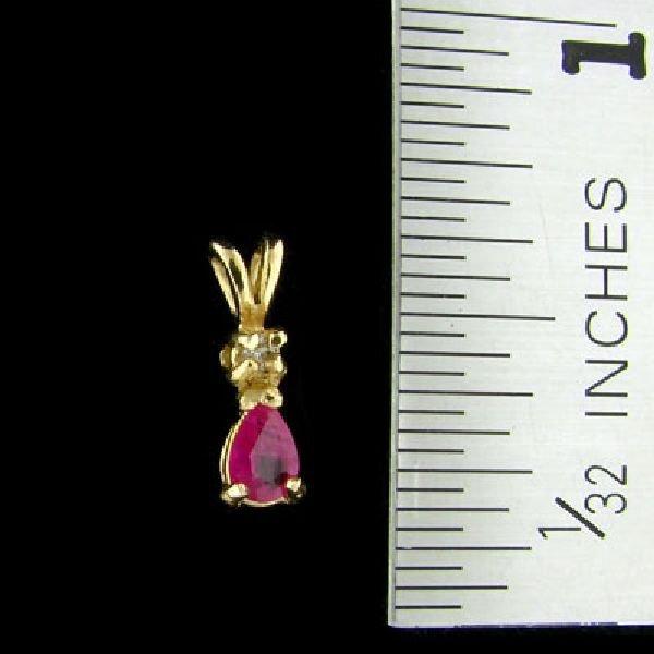 14 kt. Gold, Ruby & Diamond Pendant