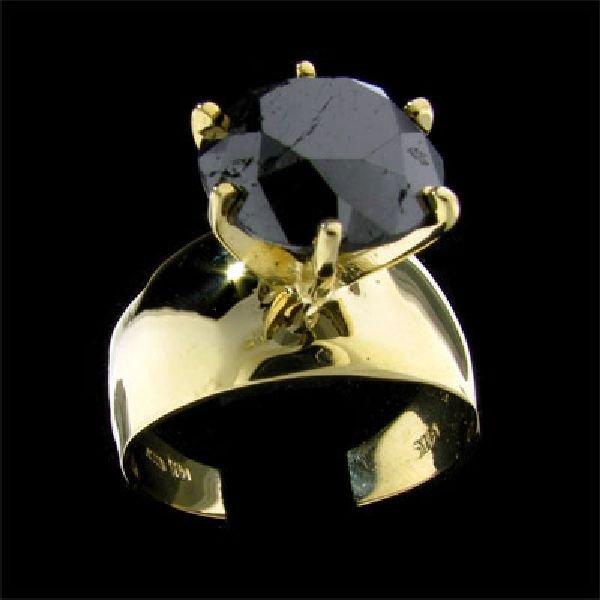 APP: $16.5k 14 kt. Gold, 7.21CT Rare Black Diamond Ring