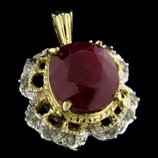APP: $19.5k 14 kt. Gold, 19.22CT Ruby & Diamond Pendant