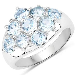 Gorgeous Sterling Silver 2.88CT Blue Topaz Ring App.
