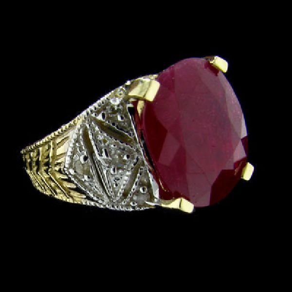 APP: $9.8k 14 kt. Gold, 7.72CT Ruby & Diamond Ring