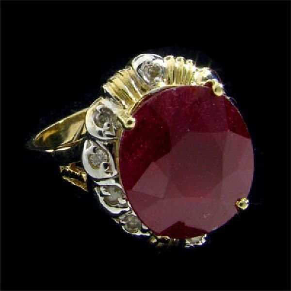 APP: $12.3k 14 kt. Gold, 9.75CT Ruby & Diamond Ring