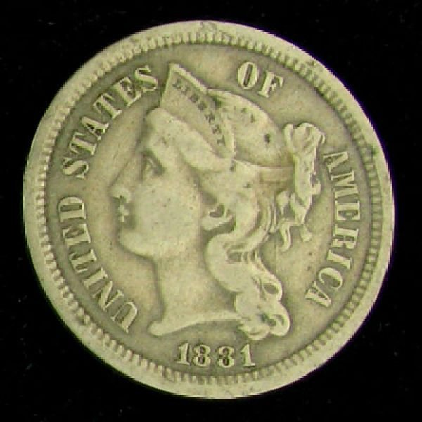 1881 Liberty Head Three Cent Coin - Investment