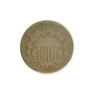 1870 Shield Nickel Coin