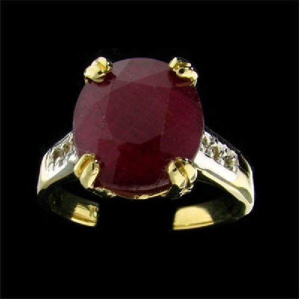 APP: $6.2k 14 kt. Gold, 6.63CT Ruby & Diamond Ring