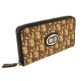 Christian Dior Choth Monogram Brown Zipper Wallet (Pre