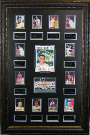 *Rare 1961 Yankees Vs. Reds World Series Museum Framed