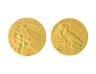 1908 US $2.50 Dollar Indian Head Gold Coin Great