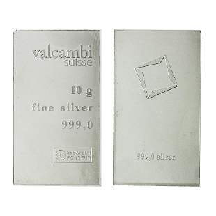 10 Grams .999 Silver Bar Valcambi Suisse - Great