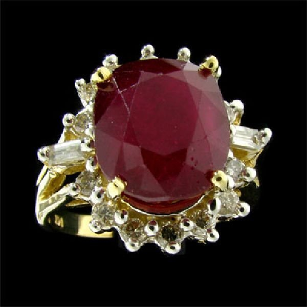 APP: $13.3k 14 kt. Gold, 8.64CT Ruby & Diamond Ring