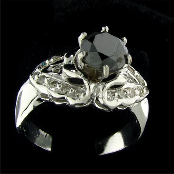 14 kt. White Gold, 1.29CT Rare Black Diamond Ring