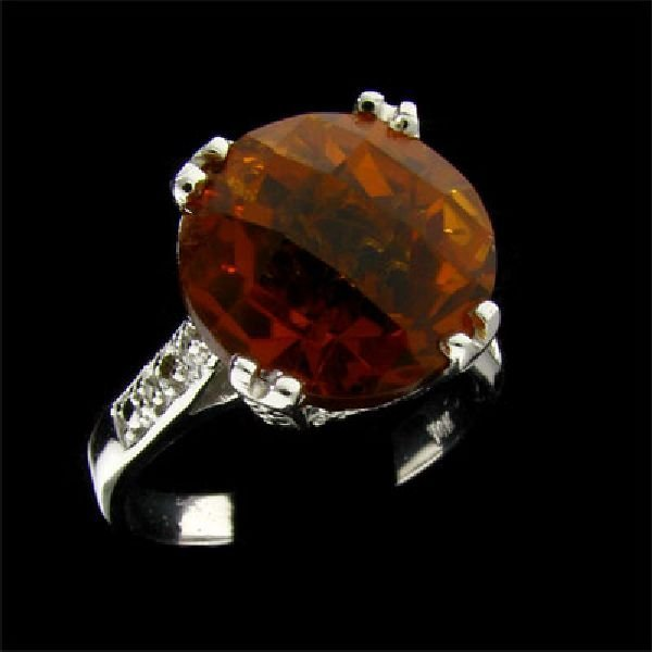 APP: $2.2k 14 kt. W Gold, 6.03CT Citrine & Diamond Ring