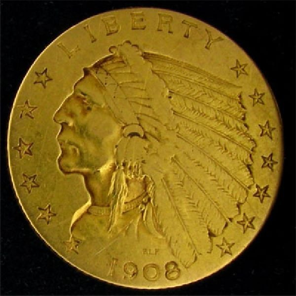 1908 U.S. $2.5 Indian Head Gold Coin - Investment