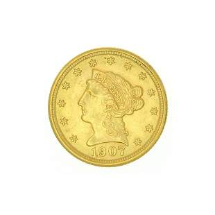 Extremely Rare 1907 $2.50 U.S. Liberty Head Gold Coin