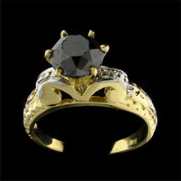 APP: $2.7k 14 kt. Y/W Gold, 1.98CT Black Diamond Ring