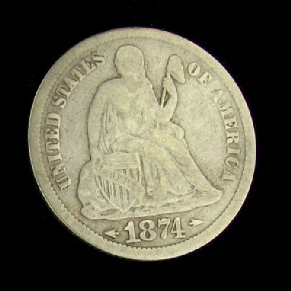 1874 Seated Liberty Dime Coin - Investment