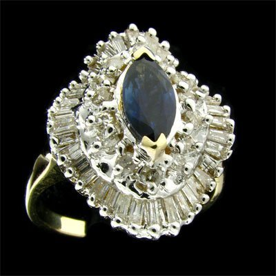 APP: $5.6k 14 kt. Gold, 1.52CT Sapphire & Diamond Ring