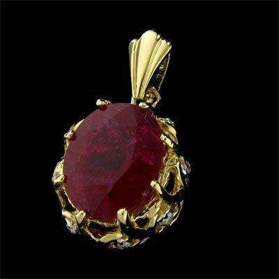 APP: $17.5k 14 kt. Gold, 11.43CT Ruby & Diamond Pendant