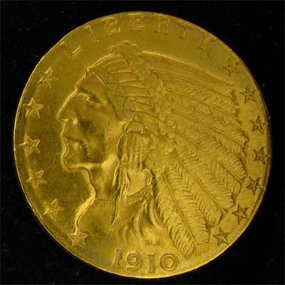 1910 U.S. $2.5 Indian Head Gold Coin - Investment
