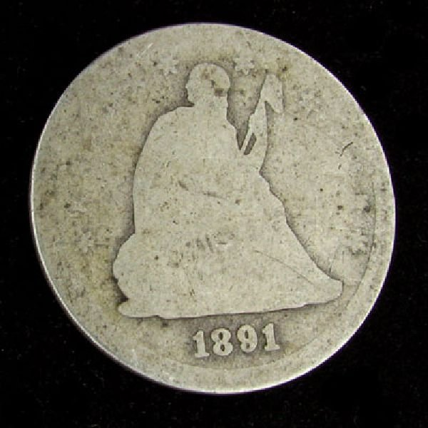 1891 Seated Liberty Quarter Dollar Coin - Investment