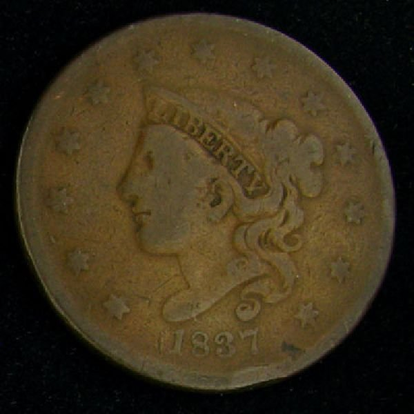 1837 Liberty Head One Cent Coin - Investment