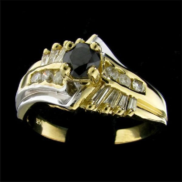 14 kt. Gold, 0.37CT Rare Black Diamond Ring
