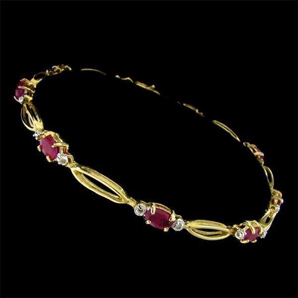 14 kt. Gold, 2.22CT Ruby & Diamond Bracelet