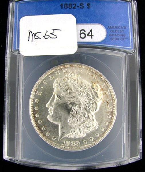 1882-S Morgan Silver Dollar Coin - Investment