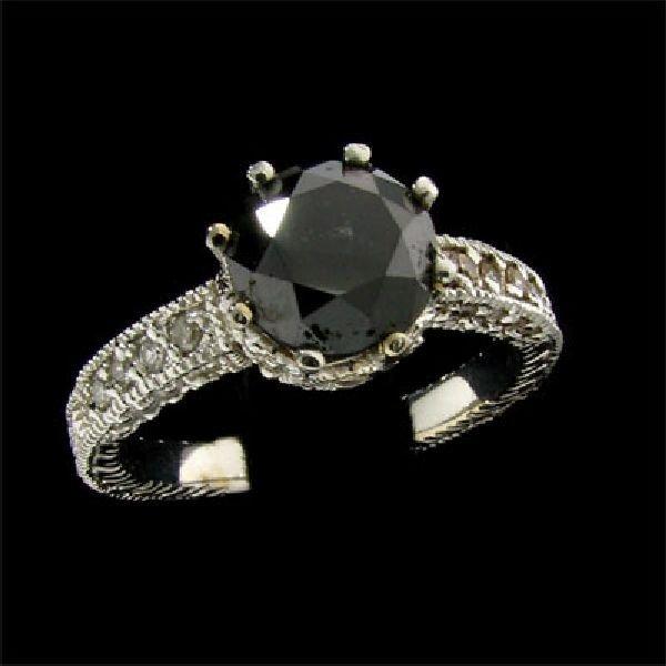 APP: $5k 14 kt. White Gold, 2.12CT Black Diamond Ring