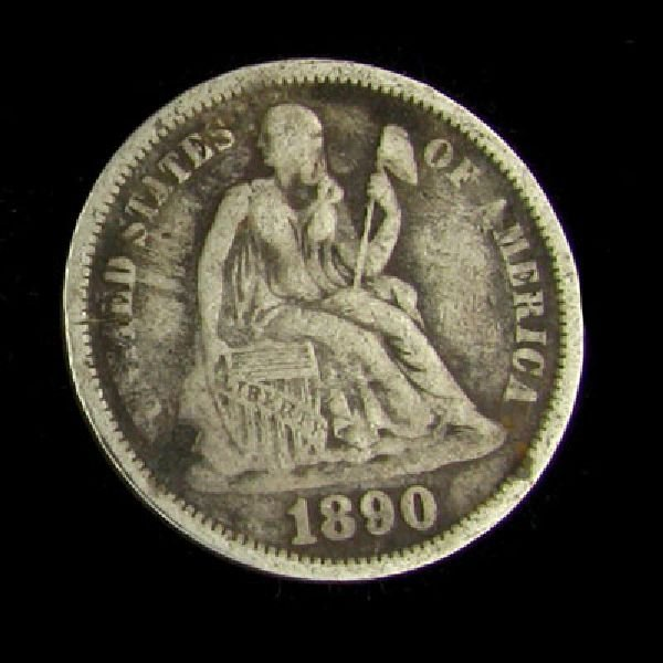 1890 Seated Liberty Dime Coin - Investment