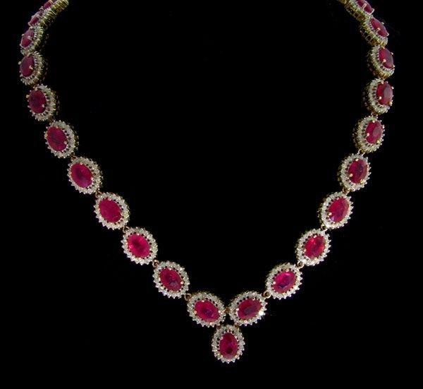 APP: 23.5k 14 kt. Gold, 34.15CT Ruby & Diamond Necklace