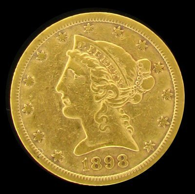 1898 $5 US Liberty Head Type Gold Coin - Investment