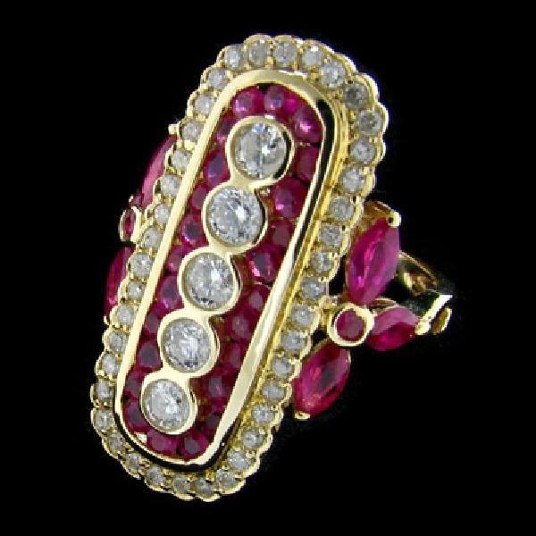 APP: $6.9k 14 kt. Gold, 0.92CT Ruby and Diamond Ring
