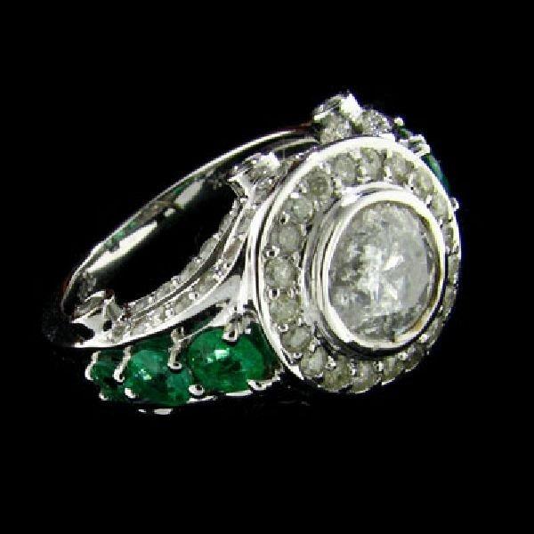APP: 10.1k 14 kt. W Gold, 1.88CT Diamond & Emerald Ring
