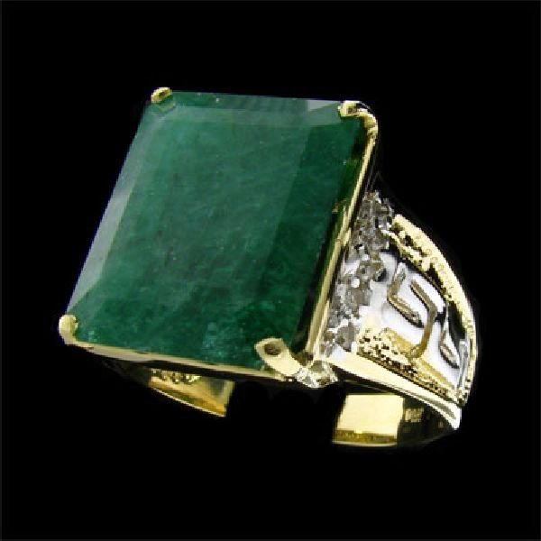 APP:$15.6k 14 kt Y/W Gold 10.8CT Emerald & Diamond Ring