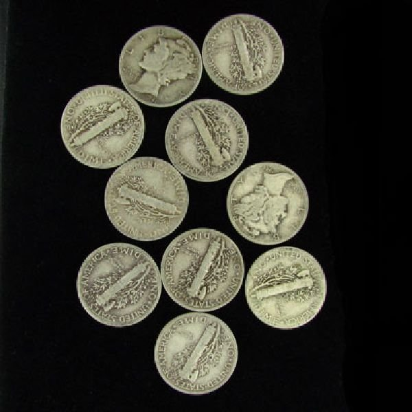 10 Misc. U.S. Mercury Type Dime Coin - Investment