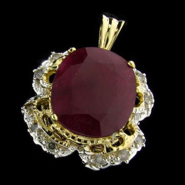 APP:$14.5k 14 kt. Gold, 16.12CT Ruby & Diamond Pendant