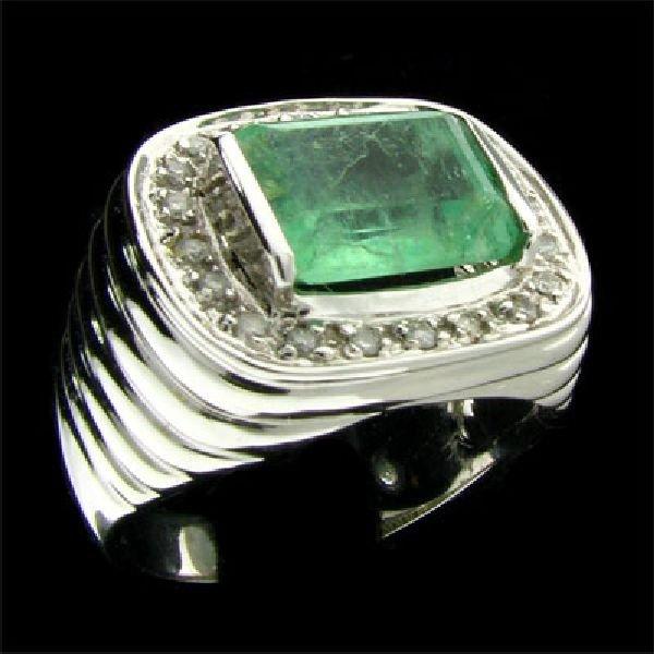 APP:3.2k 14kt. W Gold 3.06CT Green Beryl & Diamond Ring