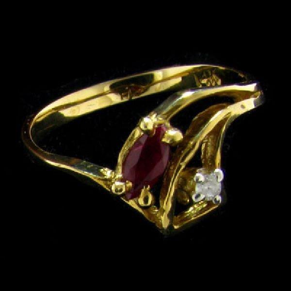 14 kt. Gold, 0.18CT Ruby & Diamond Ring