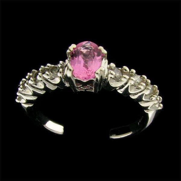 14 kt. White Gold, 0.53CT Pink Sapphire & Diamond Ring
