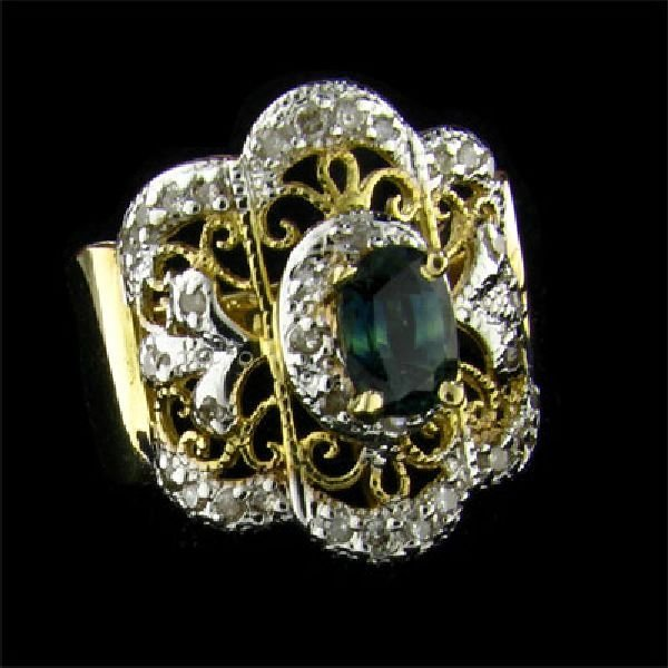 APP: $2.7k 14 kt. Gold, 0.70CT Sapphire & Diamond Ring