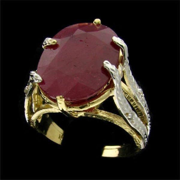 APP: $7.2k 14 kt. Gold, 9.17CT Ruby & Diamond Ring