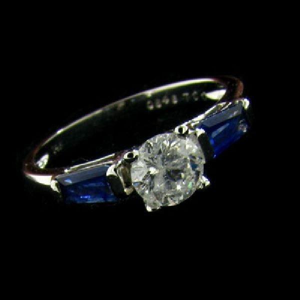 APP:2.9k 14kt. White Gold .58CT Diamond & Sapphire Ring