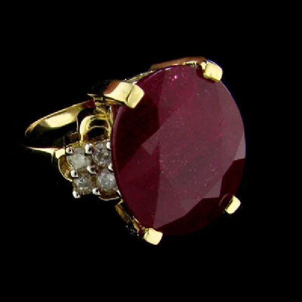 APP: $16.8k 14 kt. Gold, 13.31CT Ruby & Diamond Ring