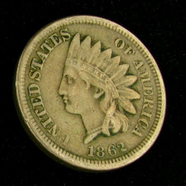 1862 Indian Head Type One Cent Coin - Investment