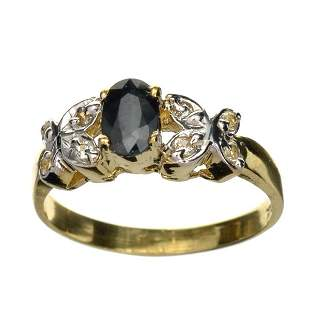 APP: 1.2k 14KT. Gold, 0.50CT Oval Cut Blue And White