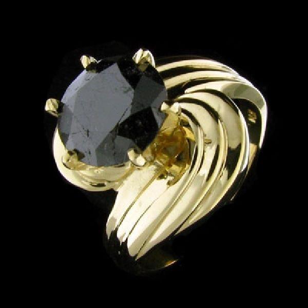 APP:$4.8k 14 kt. Yellow Gold, 2.76CT Black Diamond Ring