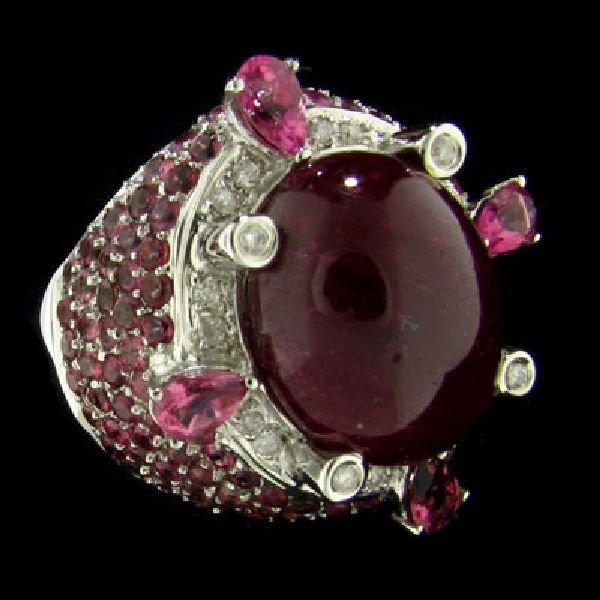 APP:$38.7k 14kt. White Gold 24.11CT Ruby & Diamond Ring