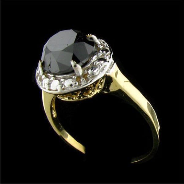 APP:$4.7k 14 kt. Y/W Gold 2.95CT Black Diamond Ring
