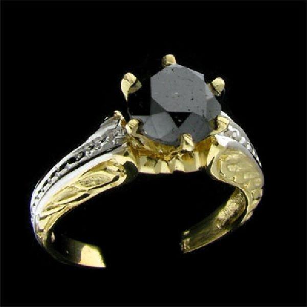 APP:$3.6k 14 kt. Y/W Gold 2.12CT Black Diamond Ring